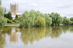 Flood water surrounds Tewkesbury Abbey after torrential rain caused  the river Severn to bust its banks and flooded the Tewkesbury area; Gloucestershire; July 2007,