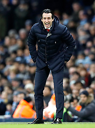 Arsenal manager Unai Emery reacts from the touchline during the Premier League match at the Etihad Stadium, Manchester.
