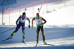 Laura Dahlmeier (GER) and Habert Dorin Marie (FRA)compete during Women 10 km Pursuit at day 3 of IBU Biathlon World Cup 2015/16 Pokljuka, on December 19, 2015 in Rudno polje, Pokljuka, Slovenia. Photo by Ziga Zupan / Sportida