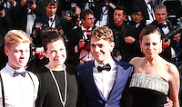 Antoine-Olivier Pilon, Anne Dorval. director Xavier Dolan and Suzanne Clement at the Palme d'Or  Closing Awards Ceremony red carpet at the 67th Cannes Film Festival France. Saturday 24th May 2014 in Cannes Film Festival, France.