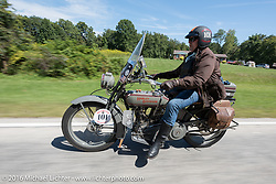 Eric Trapp of Frankfurt, Germany on his 1916 Harley-Davidson twin during the Motorcycle Cannonball Race of the Century. Stage-4 from Chillicothe, OH to Bloomington, IN. USA. Tuesday September 13, 2016. Photography ©2016 Michael Lichter.