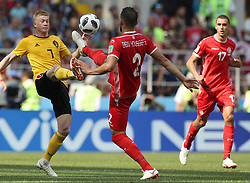MOSCOW, June 23, 2018  Kevin De Bruyne (L) of Belgium vies with Syam Ben Youssef (C) of Tunisia during the 2018 FIFA World Cup Group G match between Belgium and Tunisia in Moscow, Russia, June 23, 2018. (Credit Image: © Xu Zijian/Xinhua via ZUMA Wire)