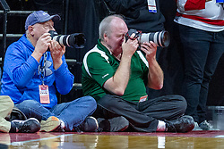 NORMAL, IL - February 16: Bob Hunt (on right) during a college basketball game between the ISU Redbirds and the Bradley Braves on February 16 2019 at Redbird Arena in Normal, IL. (Photo by Alan Look)