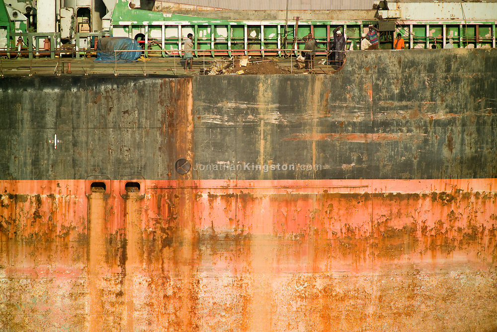 Detail of the side of a cargo ship in Chennai Port, Chennai, India.  Chennai, formerly known as Madras, is the capital of the Indian state of Tamil Nadu and is located on the Bay of Bengal.