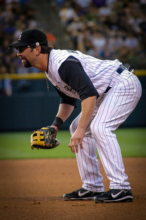Colorado Rockies first baseman TODD HELTON #17 at the ready during defeat of the San Francisco Giants 4-3 in MLB action.