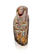 Ancient Egyptian Cartonnage funerary mask from the Third Intermediate Period, 22nd Dynasty (944-1025BC).  Egyptian Museum, Turin. white background<br /> Made from overlapping papyrus and cloth this cartonnage has been decorated with a weskh collar over which are depicted two crossed cloth strips that represent the last bandages of the deceased mummy wrappings. below this is depicted the rams head of god Amon-Ra against the out stretched wings of a vulture .<br /> <br /> If you prefer to buy from our ALAMY PHOTO LIBRARY  Collection visit : https://www.alamy.com/portfolio/paul-williams-funkystock/ancient-egyptian-art-artefacts.html  . Type -   Turin   - into the LOWER SEARCH WITHIN GALLERY box. Refine search by adding background colour, subject etc<br /> <br /> Visit our ANCIENT WORLD PHOTO COLLECTIONS for more photos to download or buy as wall art prints https://funkystock.photoshelter.com/gallery-collection/Ancient-World-Art-Antiquities-Historic-Sites-Pictures-Images-of/C00006u26yqSkDOM