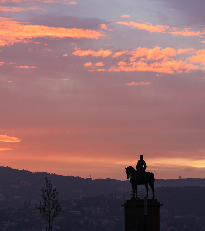 The sunset on Castle Hill in Budapest, Hungary.