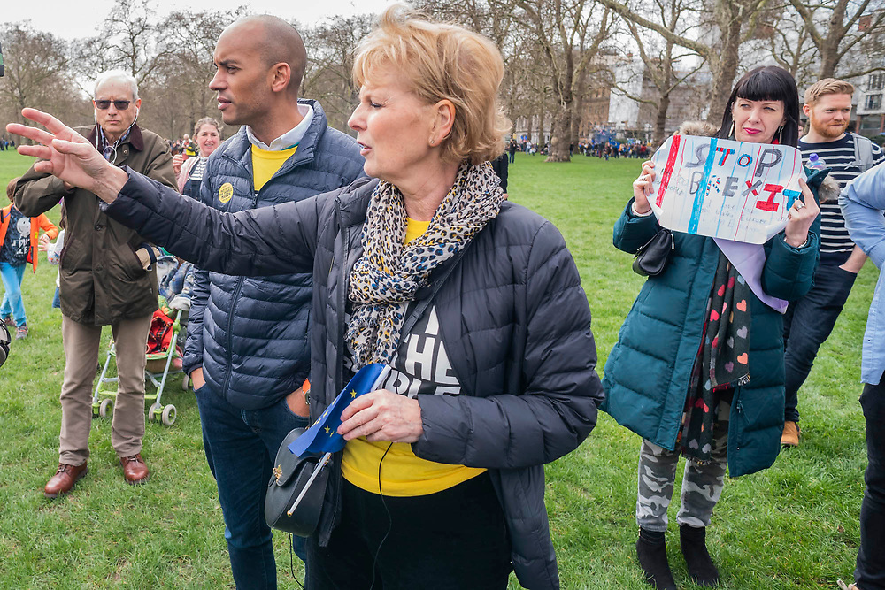 Chuka Umunna and Anna Soubry lead the march and then have to take a short cut to parliament square to be in time for their speeches greeting people and giving short interviews along the way - It is estimated that over a million people joined the Put it to the People March from Park Lane to Parliament. Organised by the Peoples-Vote.UK to demand that, whatever deal is finally agreed, that it is put to the people to finally decide upon.