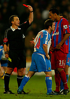 Fotball<br /> Premier League England 2004/2005<br /> Foto: BPI/Digitalsport<br /> NORWAY ONLY<br /> <br /> Crystal Palace v Blackburn Rovers<br /> 11/12/2004<br /> <br /> David Thompson of Blackburn see's red from referee, Alan Wiley