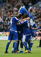 Photo: Steve Bond/Richard Lane Photography<br />Leicester City v MK Dons. Coca-Cola League One. 09/08/2008. Matty Fryatt (buried) celebrates no2