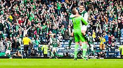 Hibernian's Leigh Griffiths (9,left) celebrates after scoring their fourth, and winning, goal. Hibernian 4 v 3 Falkirk, William Hill Scottish Cup Semi Final, Hampden Park.