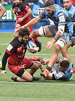 Rugby Union - 2018 / 2019 European Rugby Champions Cup - Pool Three: Cardiff Blues vs. Lyon<br /> <br /> Alexis Palisson; of Lyon attacks, chased by Josh Turnbull, of Cardiff Blues:  at Cardiff Arms Park.<br /> <br /> COLORSPORT/WINSTON BYNORTH