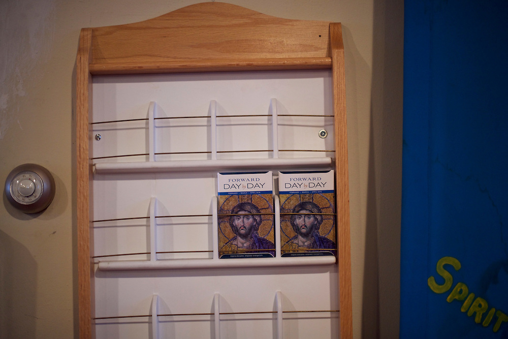 CAMDEN, NJ - March 3, 2016.  A daily planner is displayed at St. Augustine's Church on a visit by Bishop Michael Curry, the first African American Bishop of the American Episcopal church, on a tour through Camden, NJ during the 232nd Annual Diocesan Convention.  Curry was inducted at the National Cathedral in DC in November.  CREDIT: Mark Makela for The New York Times