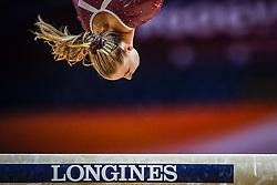 October 28, 2018 - Doha, Quatar - Emilie Winther of Denmark   during  Balancing Beam qualification at the Aspire Dome in Doha, Qatar, Artistic FIG Gymnastics World Championships on 28 of October 2018. (Credit Image: © Ulrik Pedersen/NurPhoto via ZUMA Press)