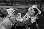 Ian Dury on London park bench 1980