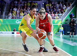 England's Georgia Jones (right) and Australia's Katie Ebzery (left) in the Women's Gold Medal Game at the Gold Coast Convention and Exhibition Centre during day ten of the 2018 Commonwealth Games in the Gold Coast, Australia.