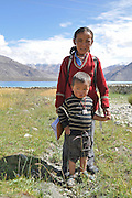 India, Jammu and Kashmir, Ladakh, Leh a young boy and girl