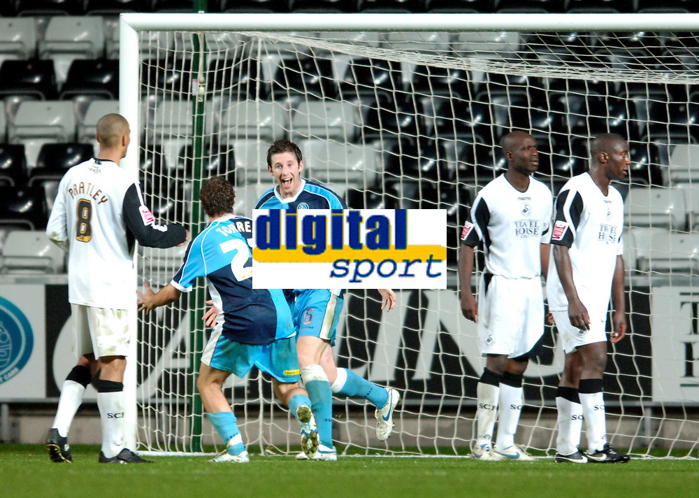 Photo: Adam Davies.<br />Swansea City v Wycombe Wanderers. Carling Cup. <br />22/08/2006.<br />Wycombe's Mike Williamson celebrates his winning goal.