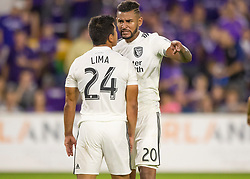 April 21, 2018 - Orlando, FL, U.S. - ORLANDO, FL - APRIL 21: San Jose Earthquakes midfielder Anibal Godoy (20) is upset with his team mate San Jose Earthquakes defender Nick Lima (24) during the MLS soccer match between the Orlando City FC and the San Jose Earthquakes at Orlando City SC on April 21, 2018 at Orlando City Stadium in Orlando, FL. (Photo by Andrew Bershaw/Icon Sportswire) (Credit Image: © Andrew Bershaw/Icon SMI via ZUMA Press)