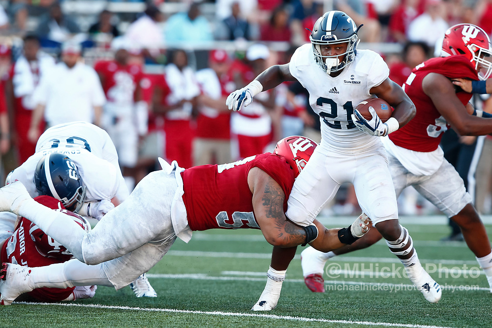 BLOOMINGTON, IN - SEPTEMBER 23: Wesley Fields #21 of the Georgia Southern Eagles runs the ball during the game against the Indiana Hoosiers at Memorial Stadium on September 23, 2017 in Bloomington, Indiana. (Photo by Michael Hickey/Getty Images) *** Local Caption *** Wesley Fields