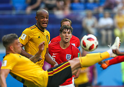 July 14, 2018 - Saint Petersburg, Russia - John Stones (C) of the England national football team vie for the ball during the 2018 FIFA World Cup Russia 3rd Place Playoff match between Belgium and England at Saint Petersburg Stadium on July 14, 2018 in St. Petersburg, Russia. (Credit Image: © Igor Russak/NurPhoto via ZUMA Press)