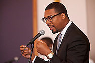 """The pastor delivering final remarks about Kevin.<br /> Funeral services for Kevin """"Flipside"""" White at Macedonia Church in Watts.<br /> White was shot dead in what is believed to be an unprovoked attack during a gang conflict at Watts' Nickerson Gardens and Jordan Downs housing projects.<br /> Flipside, 44, was a founding member of Watts' first major label hip hop act, O.F.T.B. (Operation From The Bottom)."""