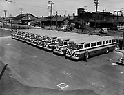 Y-480815D-02.  New twin coach bus at Center St. Steel & Richardson. August 15, 1948.