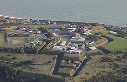 Image ©Licensed to i-Images Picture Agency. Aerial views. United Kingdom.<br /> Dover Immigration Removal Centre, Western Heights, Dover, Kent. Picture by i-Images