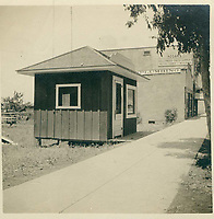 1909 C.E. Toberman's office on south side of Hollywood Blvd., just west of McCadden Pl. It was moved to this location in late 1907 from the SE corner of Hollywood Blvd. & Highland Ave.