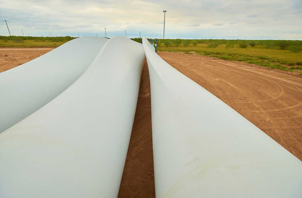 Wind Turbine blades staged and ready to install on a Duke Energy Los Vientos Wind Farm nacelle