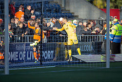 Dundee United's Paul McMullan and Dundee United's keeper Matej Rakovan at the end.  Dundee United's players with fans at the end. Falkirk 0 v 2 Dundee United, Scottish Championship game played 22/9/2018 at The Falkirk Stadium.
