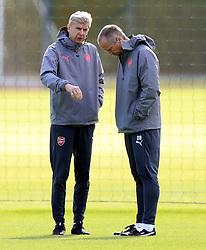 Arsenal manager Arsene Wenger (left) during the training session at London Colney.