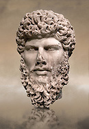 Portrait head sculpture of the Roman emperor Lucius Verus ( AD 161-169). Pentalic marble found in Athens. .<br /> <br /> If you prefer to buy from our ALAMY STOCK LIBRARY page at https://www.alamy.com/portfolio/paul-williams-funkystock/greco-roman-sculptures.html . Type -    Aphrodisias     - into LOWER SEARCH WITHIN GALLERY box - Refine search by adding a subject, place, background colour, museum etc.<br /> <br /> Visit our ROMAN WORLD PHOTO COLLECTIONS for more photos to download or buy as wall art prints https://funkystock.photoshelter.com/gallery-collection/The-Romans-Art-Artefacts-Antiquities-Historic-Sites-Pictures-Images/C0000r2uLJJo9_s0