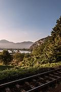 ITALY, Franciacorta area, Provaglio D'Iseo, view of the Riserva Naturale Torbiere del Sebino from the trai station