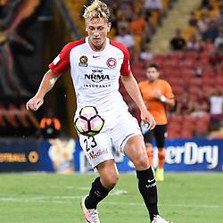 BRISBANE, AUSTRALIA - JANUARY 28: Lachlan Scott of the Wanderers controls the ball during the round 17 Hyundai A-League match between the Brisbane Roar and Western Sydney Wanderers at Suncorp Stadium on January 28, 2017 in Brisbane, Australia. (Photo by Patrick Kearney/Brisbane Roar)