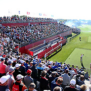 Ryder Cup 2016. Martin Kaymer of Europe plays his tee shot on the first tee in front of a packed early morning gallery during practice day at the Hazeltine National Golf Club on September 29, 2016 in Chaska, Minnesota.  (Photo by Tim Clayton/Corbis via Getty Images)