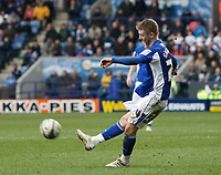 Photo: Steve Bond/Richard Lane Photography. Leicester City v Cardiff City. Coca Cola Championship. 13/03/2010. Paul Gallagher shoots from a free kick