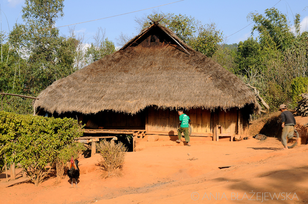 Burma/Myanmar. Typical house in the Akha tribe village.