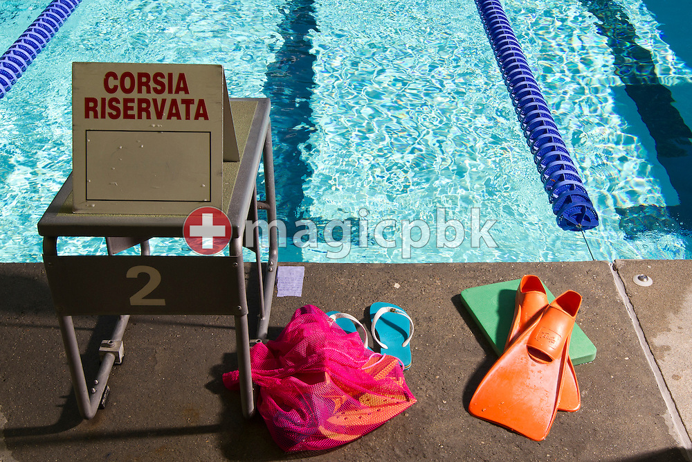 Trainings equipment of Swimmer Swann OBERSON of Switzerland is pictured during a trainings session at the outdoor swimming pool (Piscina Comunale) in Bellinzona, Switzerland, Tuesday, Aug. 9, 2011. (Photo by Patrick B. Kraemer / MAGICPBK)