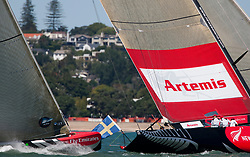 Artemis crosses Team Origin (GBR) on the second beat. Second day of the elimination round. Artemis (SWE) beats Team Origin (GBR) after Team Origin (GBR) lead till halfway up the second beat. Then they left Artemis (SWE) pass to the right and Artemis (SWE) was ahead at the next cross. Auckland, New Zealand, March 18th 2010. Louis Vuitton Trophy  Auckland (8-21 March 2010) © Sander van der Borch / Artemis