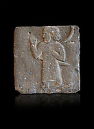 Hittite relief sculpted orthostat from a processing person from Tell Ahmar ancient Til Barsip, Syria, iX cent BC, Louvre Museum. . Black background
