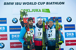 Martin Fourcade (FRA), Johannes Thingnes Boe (NOR) and Fabien Claude (FRA) during podium ceremony after the Men 20 km Individual Competition at day 1 of IBU Biathlon World Cup 2019/20 Pokljuka, on January 23, 2020 in Rudno polje, Pokljuka, Pokljuka, Slovenia. Photo by Peter Podobnik / Sportida