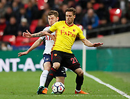Kiko Fernenia of Watford tackled by Ben Davies of Tottenham during the premier league match at Wembley Stadium, London. Picture date 30th April 2018. Picture credit should read: David Klein/Sportimage