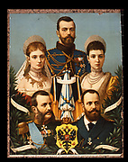 The Russian Imperial family. Bottom right: Alexander II. Bottom left: Alexander III. Middle left: Alexandra Feodorovna (Alix of Hesse) wife of Nicholas II. Middle right: Maria Feodorovna, wife of Alexander III. Top. Nicholas II, the last Tsar. Chromolithograph.