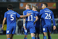 AFC Wimbledon players celebrating after goal during the EFL Sky Bet League 1 match between AFC Wimbledon and Southend United at the Cherry Red Records Stadium, Kingston, England on 24 November 2018.