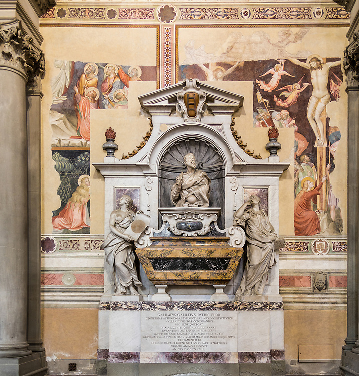 The tomb of Galileo Galilei in the Basilica of Santa Croce in Florence, Italy. Besides Galileo, his daughter Maria Celeste and his pupil Vincenzo Viviani are all buried in Galileo's tomb.