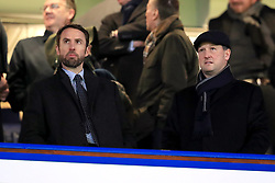 Gareth Southgate (left) and Steve Holland during the Carabao Cup Semi Final, First Leg match at Stamford Bridge, London.