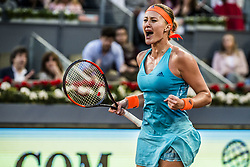 May 13, 2017 - Madrid, Madrid, Spain - KRISTINA MLADENOVIC (FRA) celebrates winning a set against Simona Halep (ROU) in the final of the 'Mutua Madrid Open' 2017. Halep won 7:5, 6:7, 6:2 (Credit Image: © Matthias Oesterle via ZUMA Wire)