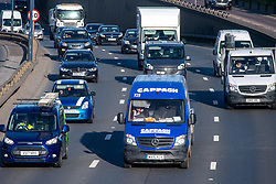 © Licensed to London News Pictures. 11/05/2020. London, UK. Traffic on the A40 near Perivale. Heavy traffic as people commute to work a day after UK Prime Minister Boris Johnson announced an easing of coronavirus lockdown restrictions. Photo credit: Peter Manning/LNP