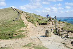 Hollins Cross on the Great Ridge approached from Mam Tor heading towards Back Tor and Losehill near Castleton in Derbyshire Hope Valley<br /> <br />  19 April  2015<br />  Image © Paul David Drabble <br />  www.pauldaviddrabble.co.uk